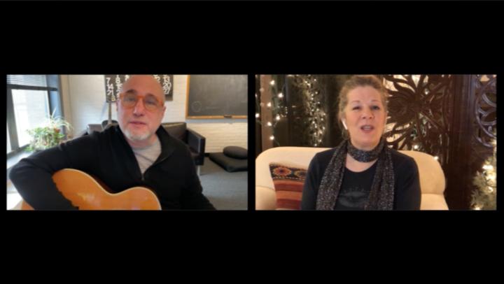 jim infantino and dar williams singing remotely