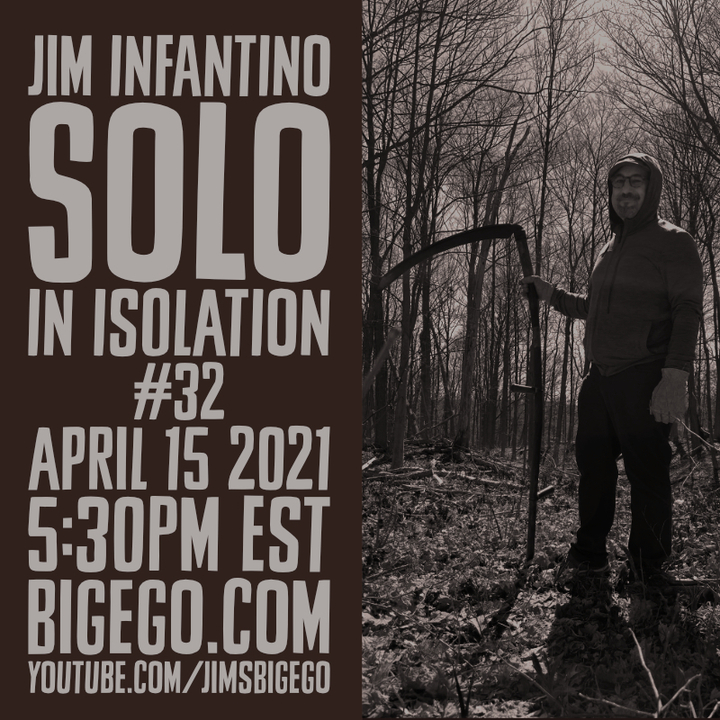 Jim Infantino outdoors with scythe
